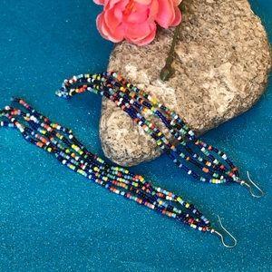"""Ethnic long 6 """" tassel handmade beaded earrings"""